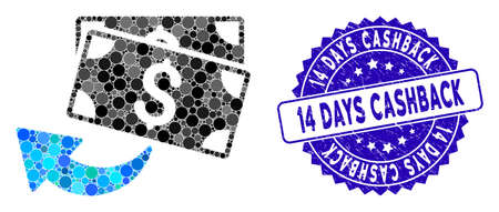 Mosaic cashback icon and rubber stamp watermark with 14 Days Cashback phrase. Mosaic vector is designed from cashback icon and with random round elements. 14 Days Cashback stamp seal uses blue color,