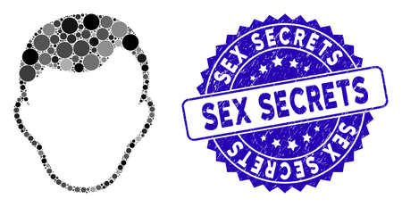 Mosaic face template icon and corroded stamp watermark with Sex Secrets phrase. Mosaic vector is composed with face template icon and with random round elements. Sex Secrets stamp uses blue color,