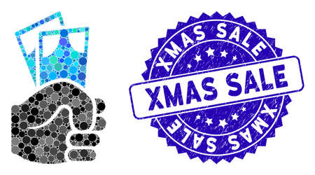 Mosaic banknotes salary hand icon and rubber stamp watermark with Xmas Sale phrase. Mosaic vector is designed with banknotes salary hand pictogram and with randomized round items. Illusztráció