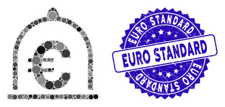 Mosaic Euro standard icon and rubber stamp seal with Euro Standard caption. Mosaic vector is formed from Euro standard icon and with random round items. Euro Standard stamp seal uses blue color,