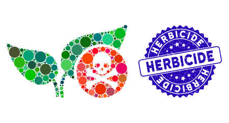 Collage herbicide icon and rubber stamp seal with Herbicide caption. Mosaic vector is designed from herbicide icon and with random round items. Herbicide stamp uses blue color, and rubber surface. Illusztráció