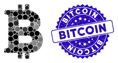 Collage Bitcoin icon and rubber stamp seal with Bitcoin caption. Mosaic vector is created with Bitcoin icon and with scattered spheric spots. Bitcoin stamp seal uses blue color, and grunge surface. Illusztráció