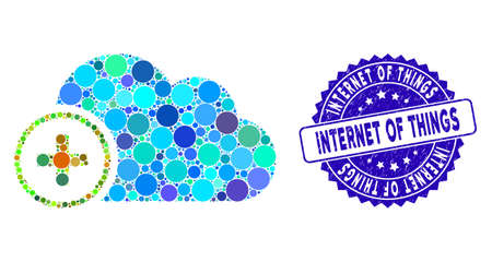 Mosaic add cloud icon and distressed stamp seal with Internet of Things text. Mosaic vector is created from add cloud icon and with scattered circle items.