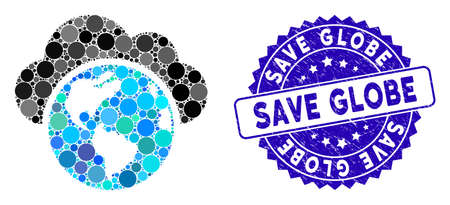 Mosaic globe icon and rubber stamp seal with Save Globe caption. Mosaic vector is composed from globe icon and with scattered circle items. Save Globe stamp seal uses blue color, and grunged design.