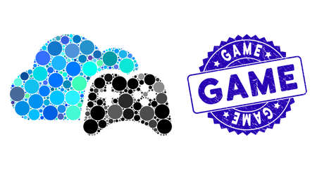 Mosaic cloud game controller icon and corroded stamp watermark with Game text. Mosaic vector is composed with cloud game controller icon and with random round spots. Game stamp seal uses blue color,