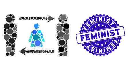 Mosaic persons woman exchange icon and corroded stamp seal with Feminist caption. Mosaic vector is designed with persons woman exchange icon and with random spheric items. Illusztráció