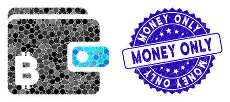 Mosaic Bitcoin wallet icon and grunge stamp watermark with Money Only text. Mosaic vector is created with Bitcoin wallet icon and with random round items. Money Only stamp seal uses blue color, Illusztráció