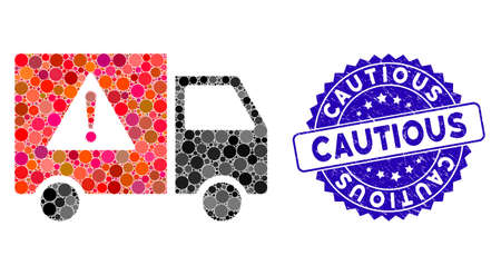 Mosaic danger transport truck icon and grunge stamp seal with Cautious caption. Mosaic vector is formed with danger transport truck icon and with random spheric items. Cautious stamp uses blue color, Illusztráció