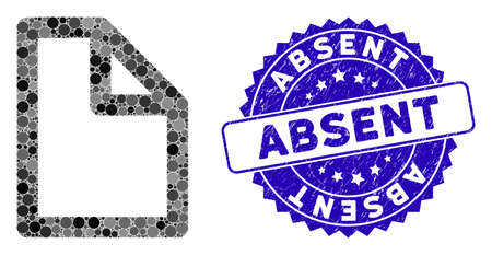Mosaic document page icon and rubber stamp seal with Absent caption. Mosaic vector is designed with document page pictogram and with randomized circle items. Absent stamp seal uses blue color, Illusztráció