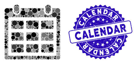 Mosaic calendar icon and rubber stamp seal with Calendar caption. Mosaic vector is formed with calendar icon and with random circle spots. Calendar stamp seal uses blue color, and grunged design.