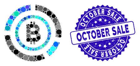 Mosaic Bitcoin circle diagram icon and corroded stamp seal with October Sale text. Mosaic vector is created with Bitcoin circle diagram icon and with scattered circle spots. Illusztráció