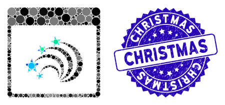 Collage festive fireworks calendar page icon and rubber stamp seal with Christmas caption. Mosaic vector is composed with festive fireworks calendar page icon and with randomized round spots.