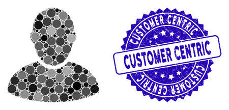 Mosaic customer icon and rubber stamp seal with Customer Centric caption. Mosaic vector is created with customer icon and with random spheric spots. Customer Centric stamp seal uses blue color,