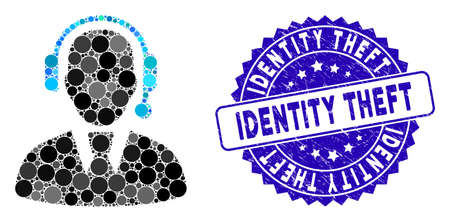 Mosaic call center manager icon and distressed stamp watermark with Identity Theft text. Mosaic vector is created with call center manager icon and with randomized circle items. Illusztráció