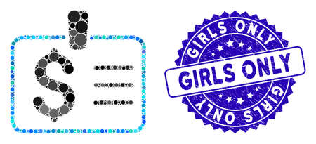 Mosaic dollar badge icon and grunge stamp watermark with Girls Only caption. Mosaic vector is formed with dollar badge icon and with scattered round items. Girls Only stamp seal uses blue color, Illusztráció