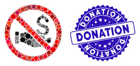 Mosaic no donation icon and distressed stamp seal with Donation caption. Mosaic vector is designed with no donation icon and with random round items. Donation stamp uses blue color,