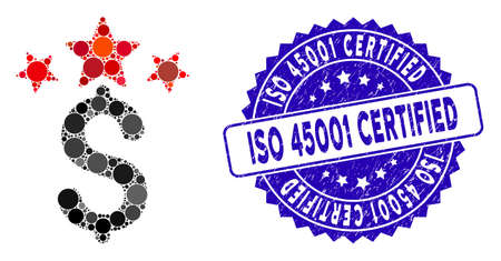 Mosaic business stars icon and rubber stamp seal with ISO 45001 Certified text. Mosaic vector is designed from business stars icon and with random circle elements. Illusztráció