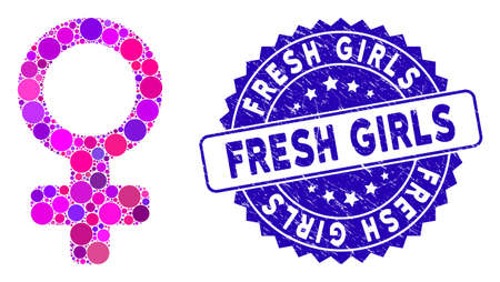 Mosaic female symbol icon and grunge stamp seal with Fresh Girls text. Mosaic vector is designed from female symbol pictogram and with random round items. Fresh Girls stamp seal uses blue color, Illusztráció