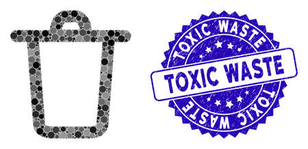 Mosaic bucket icon and corroded stamp seal with Toxic Waste caption. Mosaic vector is composed with bucket icon and with random circle elements. Toxic Waste stamp seal uses blue color,