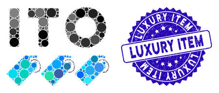 Mosaic ITO tokens icon and rubber stamp watermark with Luxury Item caption. Mosaic vector is composed with ITO tokens icon and with random circle spots. Luxury Item stamp seal uses blue color,
