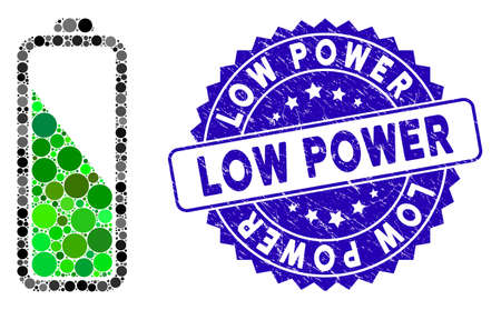 Mosaic battery level icon and rubber stamp watermark with Low Power caption. Mosaic vector is formed with battery level icon and with randomized circle spots. Low Power stamp uses blue color,