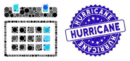 Mosaic calendar icon and grunge stamp watermark with Hurricane text. Mosaic vector is formed with calendar icon and with random circle spots. Hurricane stamp uses blue color, and grunge texture. Çizim