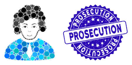 Mosaic judge icon and rubber stamp seal with Prosecution text. Mosaic vector is composed with judge icon and with scattered circle spots. Prosecution stamp seal uses blue color, and rubber design.