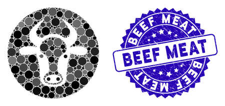 Mosaic bull head icon and distressed stamp watermark with Beef Meat caption. Mosaic vector is created with bull head icon and with randomized round items. Beef Meat stamp seal uses blue color, Ilustrace