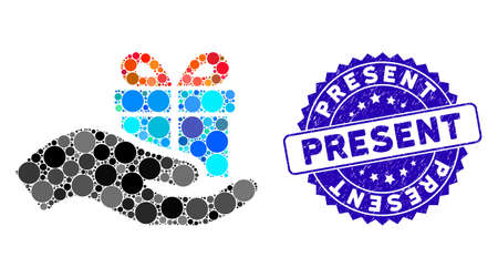 Mosaic present icon and grunge stamp seal with Present caption. Mosaic vector is created from present icon and with randomized round spots. Present stamp uses blue color, and grunge texture. Illusztráció