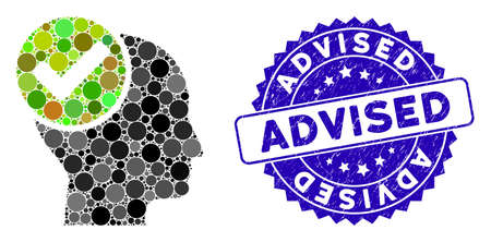 Mosaic advised icon and grunge stamp seal with Advised phrase. Mosaic vector is designed with advised icon and with scattered spheric spots. Advised seal uses blue color, and rubber texture.