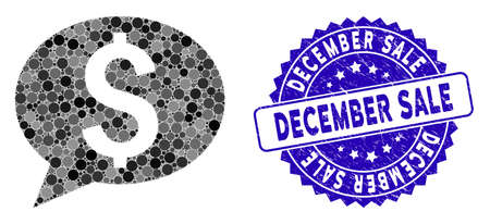 Mosaic bank message icon and grunge stamp watermark with December Sale caption. Mosaic vector is composed from bank message icon and with scattered round items. December Sale stamp uses blue color,