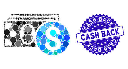 Mosaic cash icon and distressed stamp seal with Cash Back text. Mosaic vector is designed with cash icon and with scattered circle elements. Cash Back stamp uses blue color, and rubber surface. Illusztráció