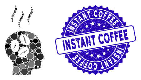 Mosaic coffee dream head icon and rubber stamp seal with Instant Coffee text. Mosaic vector is designed with coffee dream head icon and with randomized round items.