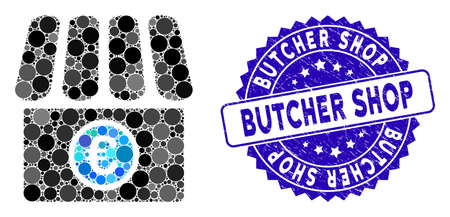Mosaic Euro shop icon and grunge stamp seal with Butcher Shop caption. Mosaic vector is formed with Euro shop pictogram and with randomized spheric items. Butcher Shop stamp seal uses blue color,