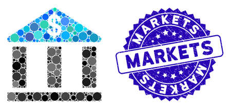 Mosaic bank building icon and corroded stamp seal with Markets text. Mosaic vector is created with bank building icon and with random round elements. Markets stamp seal uses blue color, Çizim
