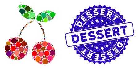Mosaic cherry icon and rubber stamp seal with Dessert phrase. Mosaic vector is designed with cherry pictogram and with randomized round spots. Dessert stamp seal uses blue color, and distress surface. Çizim