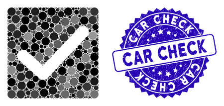 Mosaic check icon and distressed stamp seal with Car Check caption. Mosaic vector is designed with check icon and with scattered spheric items. Car Check stamp uses blue color, and scratched surface. Çizim