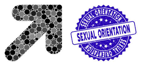 Mosaic arrow up right icon and grunge stamp watermark with Sexual Orientation phrase. Mosaic vector is formed with arrow up right icon and with scattered spheric spots.