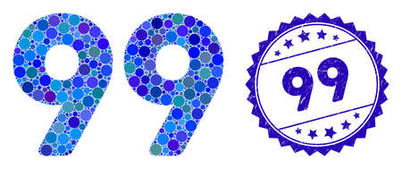 Mosaic 99 digits text icon and grunge stamp seal with 99 text. Mosaic vector is created from 99 digits text icon and with scattered round items. 99 seal uses blue color, and grunge surface. Standard-Bild - 137886945