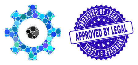 Mosaic gear icon and rubber stamp watermark with Approved by Legal caption. Mosaic vector is composed with gear icon and with scattered round elements. Approved by Legal stamp uses blue color,