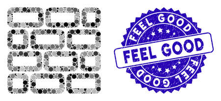 Mosaic brick wall icon and rubber stamp seal with Feel Good caption. Mosaic vector is formed with brick wall icon and with randomized spheric items. Feel Good stamp seal uses blue color,