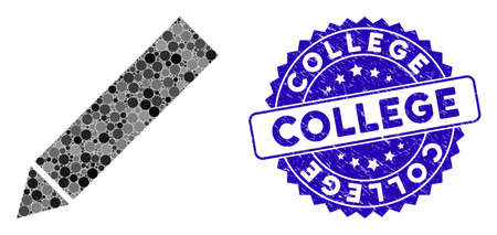 Collage edit icon and rubber stamp watermark with College caption. Mosaic vector is composed with edit icon and with randomized spheric elements. College seal uses blue color, and rubber texture.