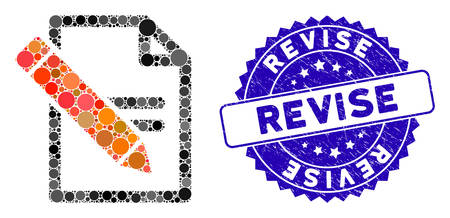 Collage edit records icon and grunge stamp seal with Revise text. Mosaic vector is designed from edit records icon and with randomized spheric elements. Revise stamp seal uses blue color, Ilustração