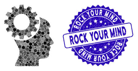 Mosaic thinking gear icon and grunge stamp watermark with Rock Your Mind phrase. Mosaic vector is formed with thinking gear icon and with scattered round spots. Rock Your Mind stamp uses blue color, Illustration