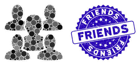 Mosaic friends icon and distressed stamp seal with Friends phrase. Mosaic vector is formed with friends icon and with random round items. Friends stamp uses blue color, and grunge design.