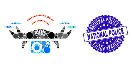 Mosaic photo spy drone icon and grunge stamp seal with National Police phrase. Mosaic vector is formed with photo spy drone icon and with random circle spots.