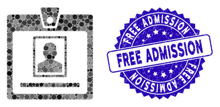 Collage person badge icon and rubber stamp seal with Free Admission phrase. Mosaic vector is created with person badge pictogram and with scattered spheric items.