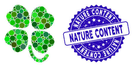 Mosaic four-leafed clover icon and distressed stamp seal with Nature Content caption. Mosaic vector is composed with four-leafed clover pictogram and with randomized spheric items. Çizim