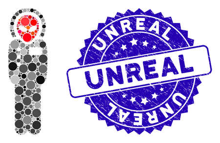 Mosaic alien visitor space suit icon and rubber stamp seal with Unreal phrase. Mosaic vector is formed with alien visitor space suit icon and with random spheric spots.