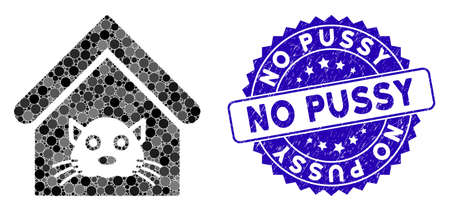 Mosaic cat house icon and rubber stamp watermark with No Pussy text. Mosaic vector is designed with cat house icon and with scattered spheric elements. No Pussy stamp seal uses blue color,